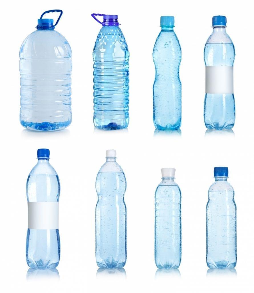 image of eight empty plastic waterbottles